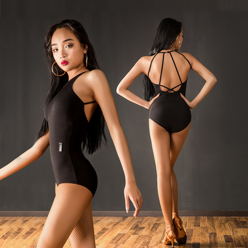 Hot Sexy Latin Dance Top Women Black Sexy Backless For Ladies Cha Cha Latin Tango Dance Professional Dance Costumes DQL1001