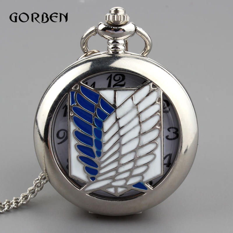 Retro Anime Hollow Pocket Watch Creative Wing Sliver necklace chain Quartz Clock Attack On Titan men women watches Gifts