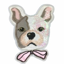 25 x 20cm Sequins Dog Patch Broderi Patches för kläder DIY Plagg Tillbehör Big Motifs Sequin Fabric Sy Appliques