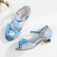summer new girls sandals children Princess kids beautiful bling for high heel bow and rhinestone shoes 5-13Y