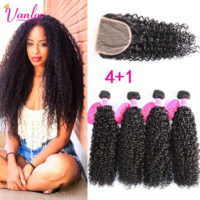 4 Bundles Malaysian Curly Hair With Closure Light Brown 8A Grade Malaysian Virgin Hair Kinky Curly Weave Human Hair Extension 1B