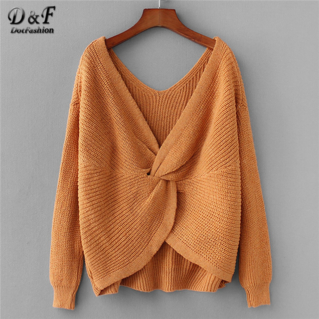 6a111a865f Dotfashion Yellow Twist Back Drop Shoulder Jumper Women Casual Plain Autumn  V Neck Long Sleeve Clothing Female Pullovers Sweater