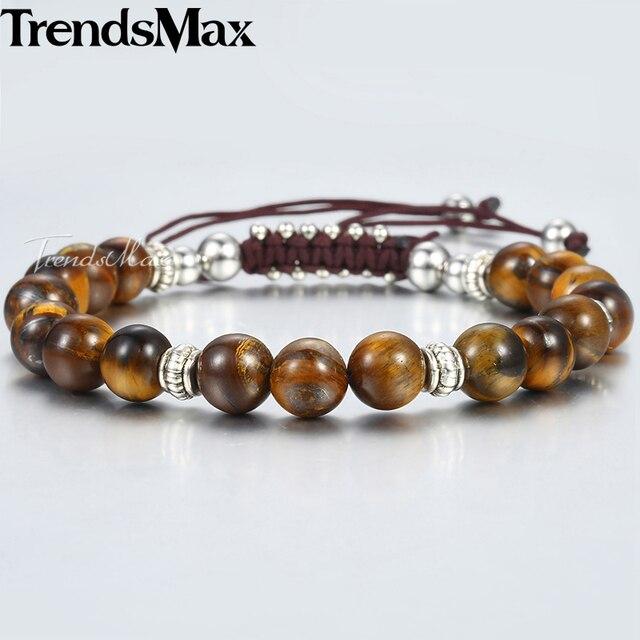 8mm Natural Tiger Eye Stone Beaded Bracelets For Women Men Black Glass Gray Map Stone Beads Bracelets 2018 Dropshipping DBM12