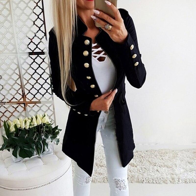 Spring Autumn Suit Blazer Women Casual Single Breasted Women Long Jackets Elegant Long Sleeve Blazer Outerwear 2020 New