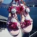 2017 Новая мода марка peep toe красный сексуальный цветок платформы женщин сандалии бренда обувь смешанные цвета на высоком каблуке краткое причинно-следственной обувь 60