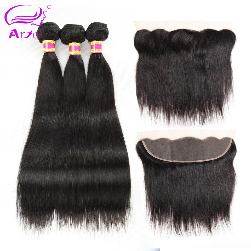 Ariel Brazilian Straight Hair Lace Frontal With Bundles Natural Color Non-remy Human Hair 3 Bundles With Closure Free Part