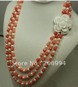 factory price Fancy 3rows red coral pearl necklace flower clasp 18