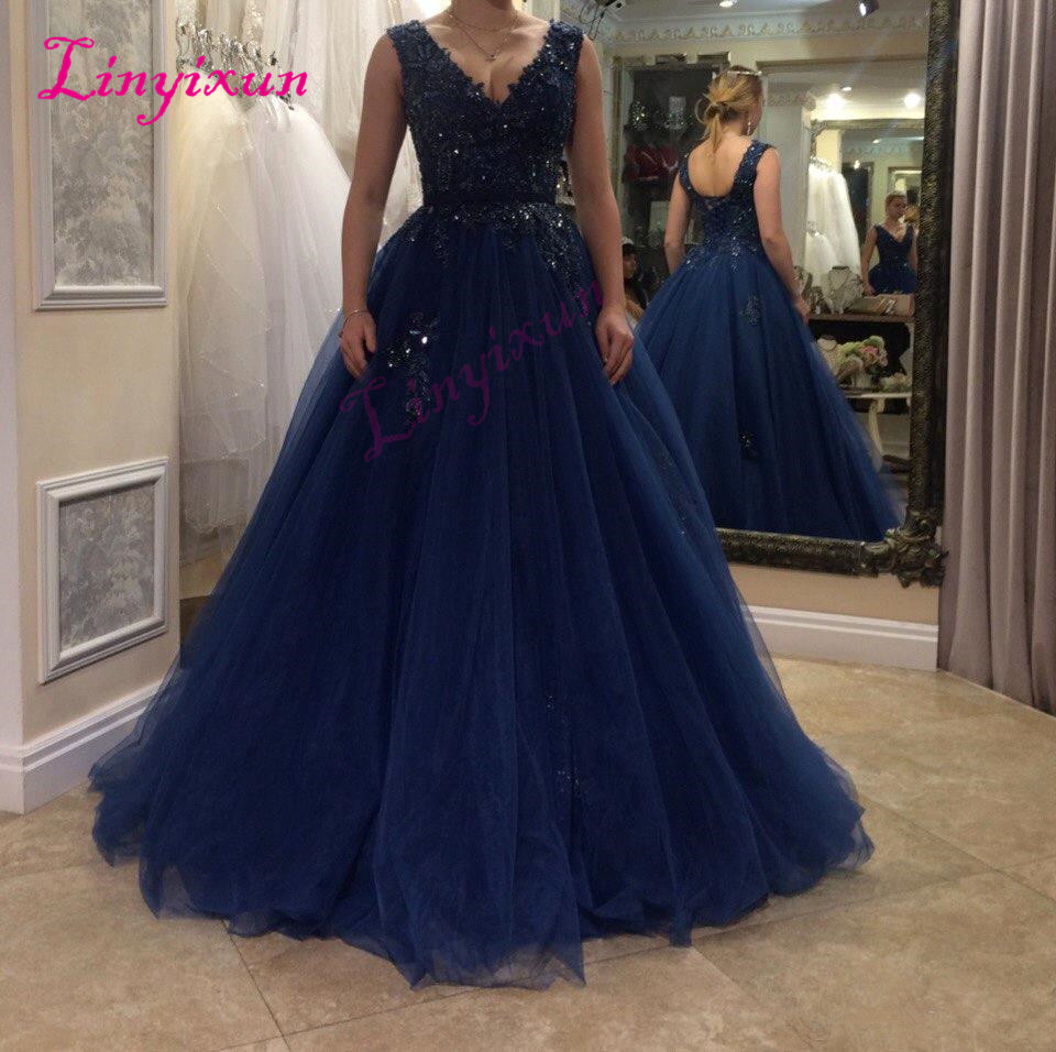 Sexy Navy Blue   Prom     Dresses   Sheer V-Neck Lace-up Long Formal   Prom   Gowns 2018 Occasion   Dresses   Sleeveless Evening   Dresses