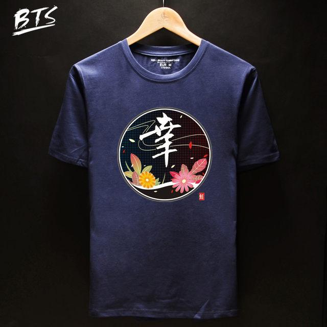 Online Shop Bts Chinese Character T Shirt Women Summer Female T