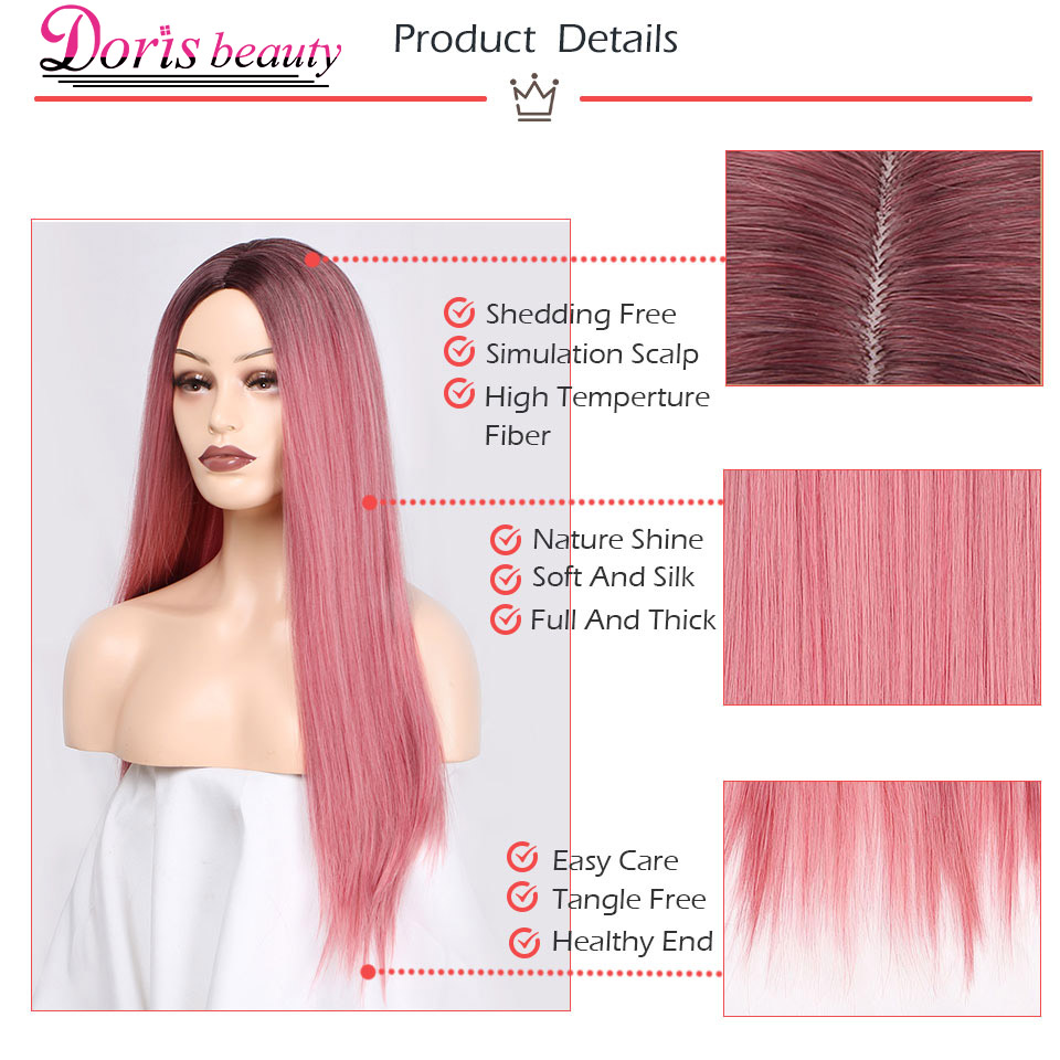 Doris beauty Long Straight Ombre Pink Dark Roots Synthetic Wigs for Women Cosplay High Temperature Fiber Hair with Middle Part
