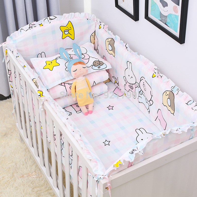 6Pcs/Pack Baby Bed Bumper Infant Bed Cot Bumpers Bed Protector Safe Baby Crib Protector  ...