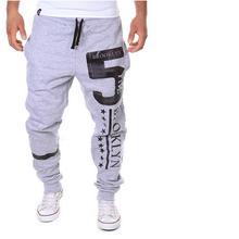 Gran tamaño de los hombres Pantalones de Chándal Outwear Ocasional Carta Impresión Baggy Harem Fresco Largo Loose Pantalón Basculador