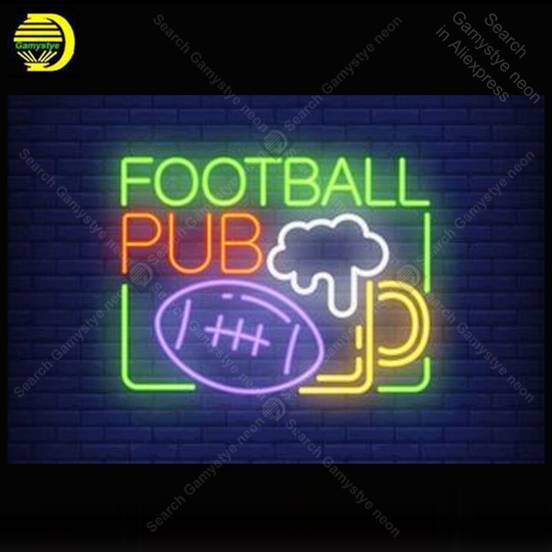 Enseigne au néon pour Football pub ballon de Rugby ampoule au néon enseigne lampe affichage Bar à bière éclairer enseigne murale enseigne au néon pour chambre Letrero Lampara