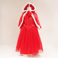 2018 New Christmas Dress, Girls' Ice and Snow Cape + Shawl Cap Two Sets of Dress Dress Europe and America.