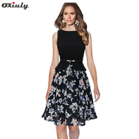 Oxiuly Womens Summer Vintage Elegant Belted Floral Flower Chiffon Patchwork Tunic Work Office Party Fit And