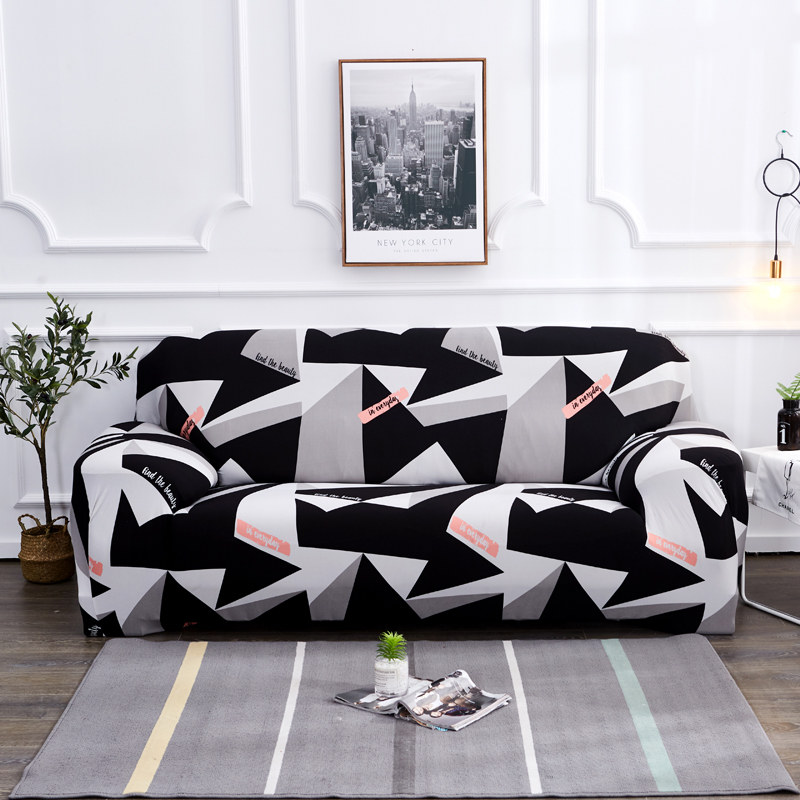 4 Seater Black White Grey Sofa Cover