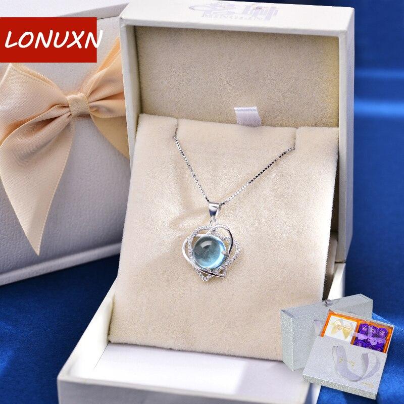 24*17mm 9 couleurs 925 argent naturel bleu cristal collier fleurs étoiles femme ronde pendentif femmes jour filles amoureux meilleur cadeau
