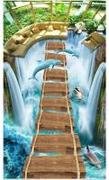 3D wallpaper custom 3d flooring wall Sticker Waterfall Dolphins Unique Wood Bridge 3D Painting Self adhesive waterproof floor