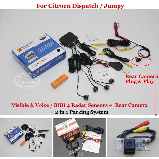 For Citroen Dispatch / Jumpy - Car Parking Sensors + Rear View Camera = 2 in 1 Visual / BIBI Alarm Parking System