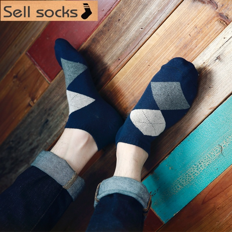 new summer 8 colors rhombus man Casual ankle cotton socks men boat sock slippers harajuku EUR39-44