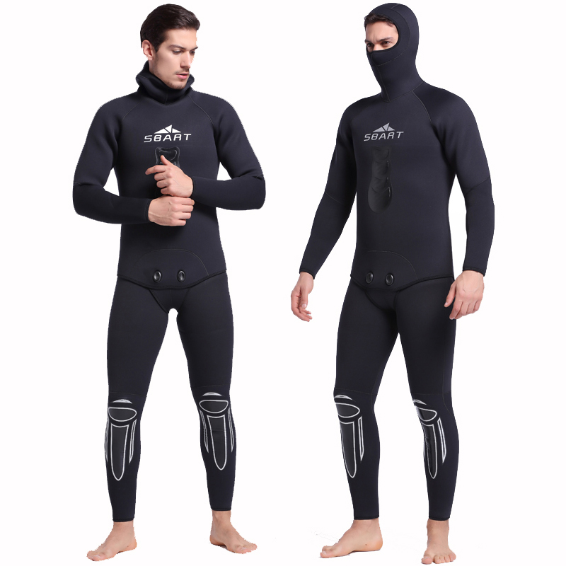 SBART Men 3mm Neoprene Wetsuit Full Keep Warm Hooded Two-Piece Suit Swimwear For Scuba Diving Spearfishing Snorkeling Wetsuits sbart 3mm 5mm thick men neoprene wetsuits underwater warm hooded spearfishing wetsuit spearfishing diving surfing camo wetsuits