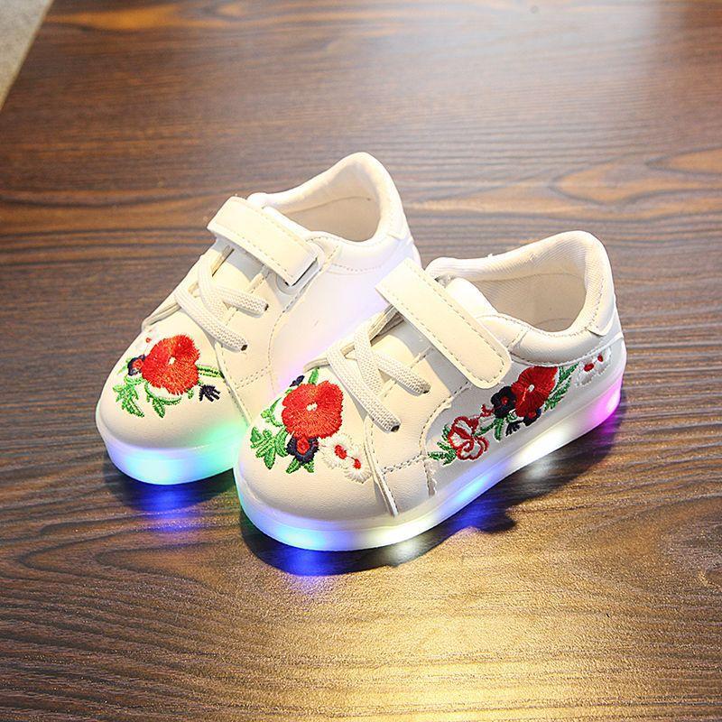 kwiatowy print PU skórzane buty dziecięce led świecące trampki - Obuwie dziecięce - Zdjęcie 1