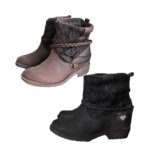 55d9ed75ff78f9 YJSFG HOUSE botki w stylu vintage dla damskie buty ze sztucznej skóry  kwadratowe obcasy Patchwork botki Lady buty zimowe botas mujer