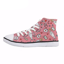 NOISYDESIGNS Sketch Medical Print Women's Vulcanize Shoes Pink High Top Canvas Shoes Girls Breathable Lace Up Sneaker Zapatos недорого