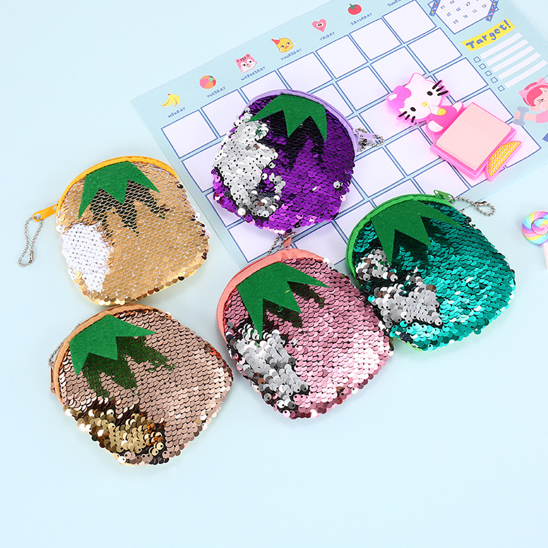 New Small Coin Purse Fashion Double Color Sequins Coin Purse Round Bag Earphone Key Pouch for Kids Gift