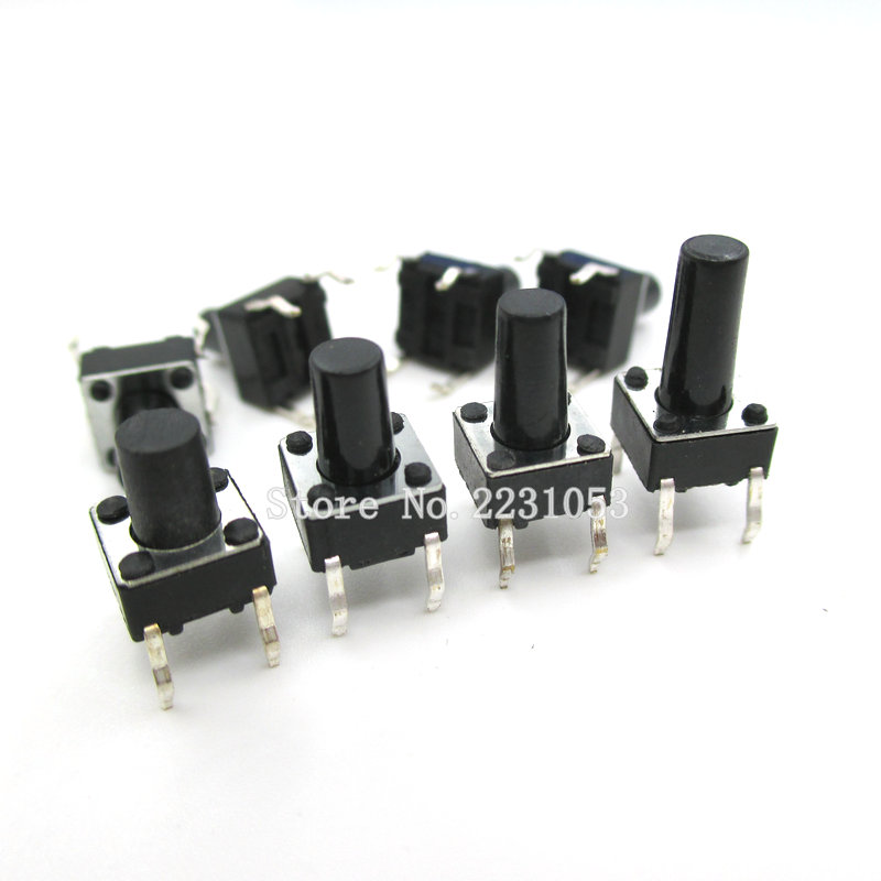 100PCS/Lot 6X6X10 DIP Tactile Tact Mini Push Button Switch Micro Switch Momentary 6*6*10 Mm 4Pins