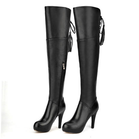 ФОТО Free shipping 2017 Women's Full Grain Leather over the knee boots fashion Thin Heels winter platform Riding boots for women