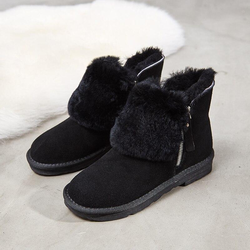 Nouvelle Coton gris Chaudes Neige Peau Chaussures Hiver Vache Noir Et De Cuir Spéciale vert En Plat Cheville Bottes 100 Automne Fourrure EAwqZn