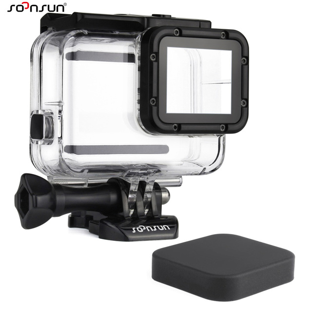 SOONSUN Waterproof Housing Underwater Diving Protective Case w/ Drawstring Bag for GoPro Hero 5 6 7 Black for Go Pro Accessories