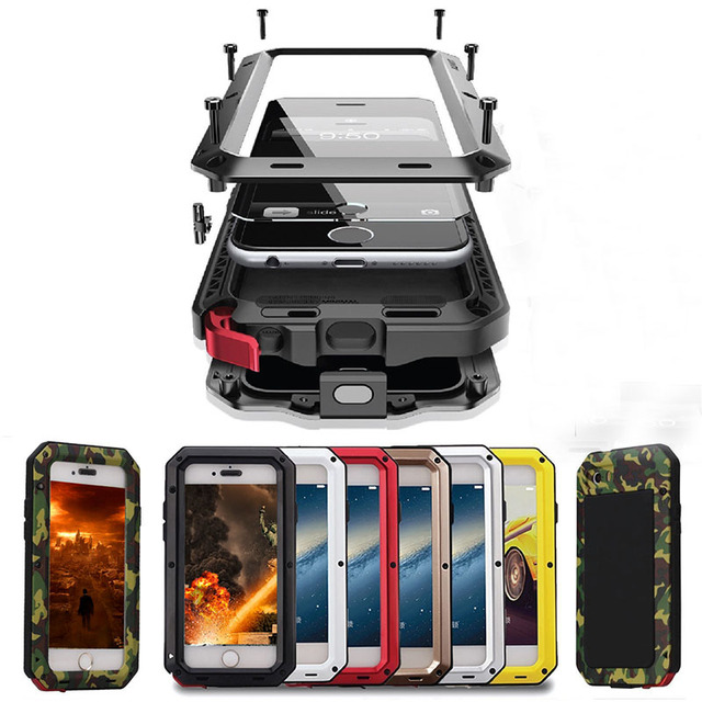 الثقيلة حماية حقيبة لهاتف أي فون 7 6 6s زائد 5 5s SE غطاء معدن الألومنيوم غلاف واقي مضاد للصدمات الحالات الهاتف الزجاج شاشة