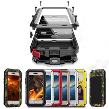 Heavy Duty Protection Case for iPhone 7 6 6s Plus 5 5s SE Cover Metal Aluminum Shockproof Armor Phone Cases + Glass Screen Film