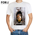 FORUDESIGNS Casual Men TShirt Crazy Horse Printed Mens Summer T-Shirt for Male Fashion Streetwear Short Sleeve T Shirt Man