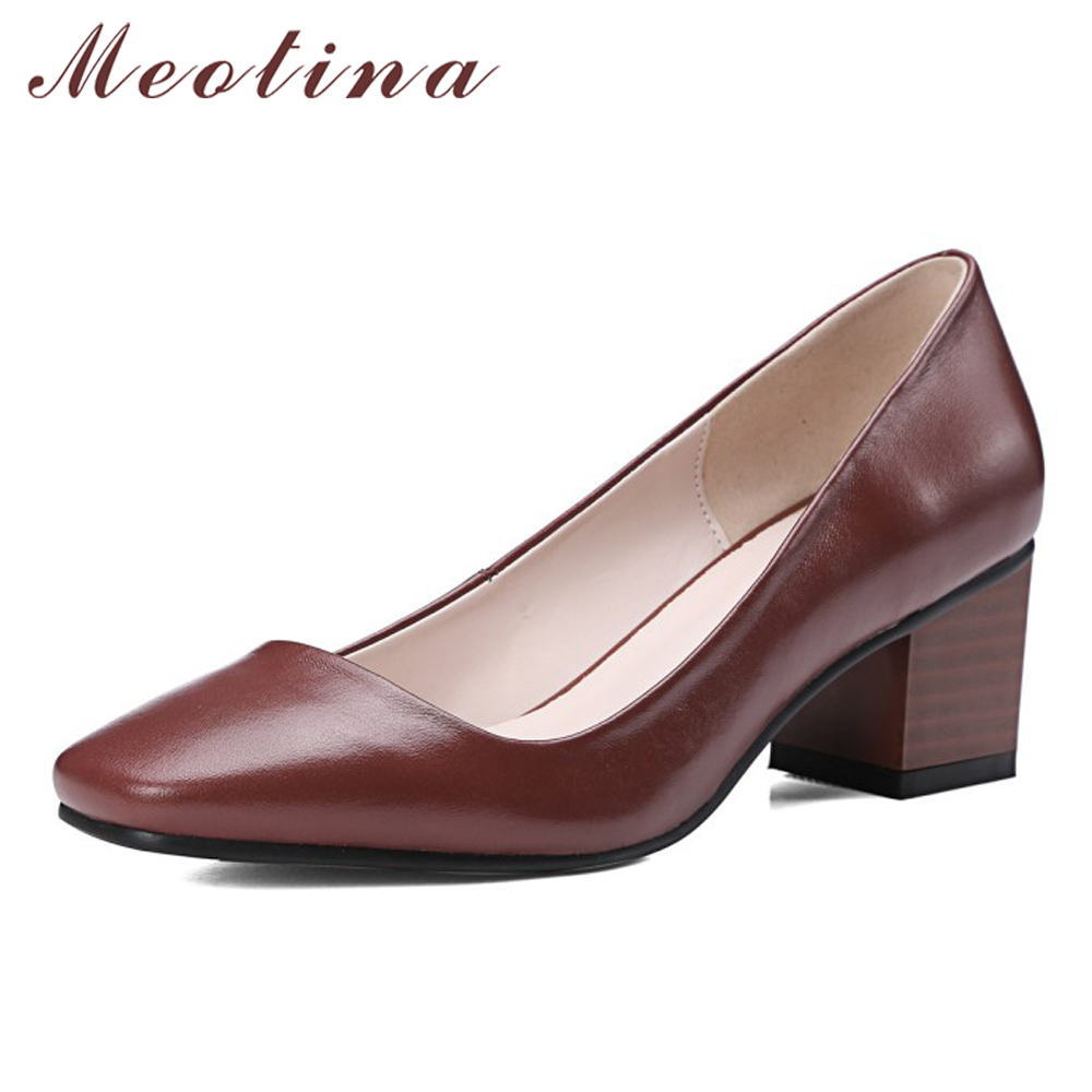 Meotina Genuine Leather Shoes Women Dress High Heels Square Toe Autumn Chunky High Heel Pumps Yellow Size 34-40 Chaussure Femme vinlle 2017 women pumps college style square med heel vintage slip on pu leather shoes casual round toe girl shoes size 34 40