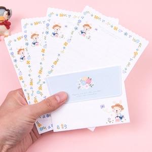 Image 4 - 30Packs/Lot Leuke Konijn Pinguïn Bloem 2 Envelop + 4 Papieren Brief Mini Brief Pad Schrijven Papier Kantoor & School Leveranties