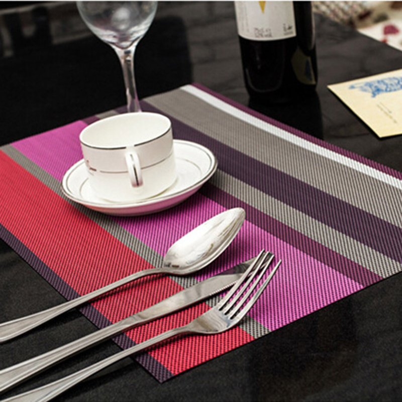 2017 4 Pcs Lot Stripe Placemats Pvc Mats Plate Dining