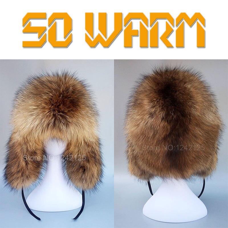 Hiver russie garçon hommes enfants femmes réel fourrure de renard chapeau complet chaud entier fourrure chapeau oreille Earmuff véritable fourrure de raton laveur chapeaux casquette