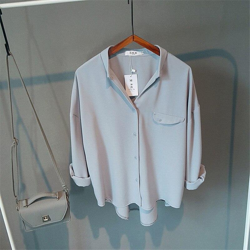 Nueva 63809 cuello 63809 Larga Mujeres Blusa De Breve Sólido Manga V Casual White Blusas Coreana 2019 Asimétrico Otoño Blue Moda aYq45F