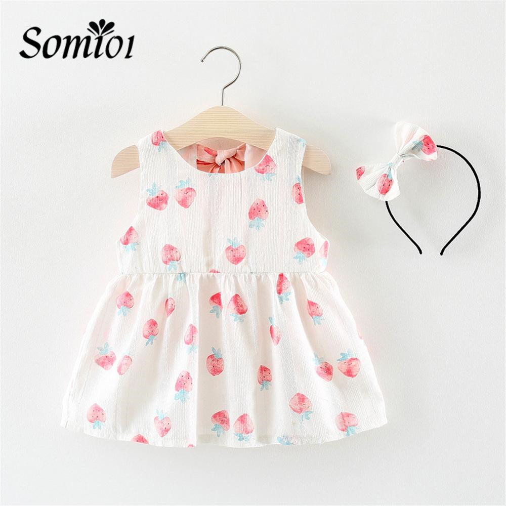 Girls Dress Summer Children Clothing Strawberry Dress Newborn Baby Princess Birthday Dress Kids Sundress + Bow Headband For Girl