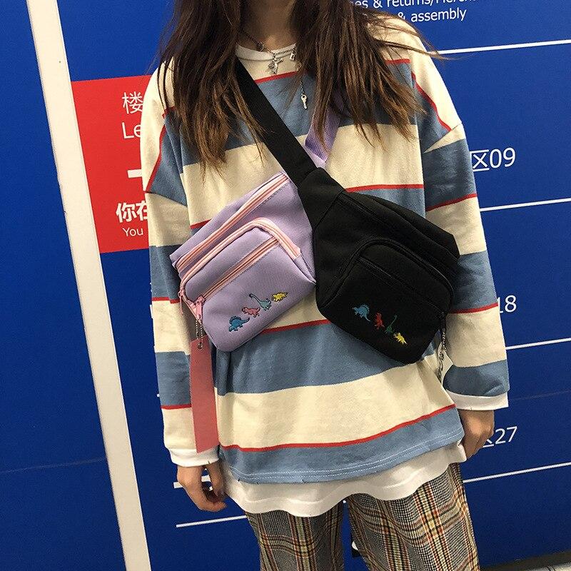 Hip Hop Street Waist Bag Women Fanny Pack Ladies Chest Bag Men Waist Pack Casual Embroidery Dinosaur Crossbody Bags/Pouch 2019