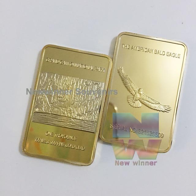 5d03c487d82f7 1pcs lot 1OZ 999 Gold Plated Bullion Metal Bar American Bald Eagle Coin Sample  Order