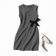 Veydu осень Для женщин с О-образным вырезом, без рукавов, с бантом на поясе платье трапециевидной формы элегантные пикантные офисная одежда Вечерние Повседневные платья Женская обувь в деловом стиле; ладай