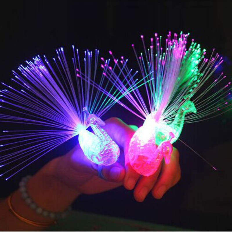 2018 Flashing Peacock Finger Lights Lamps Party Laser Finger Light Up Beam Torch Glow Ring Party Birthday Party