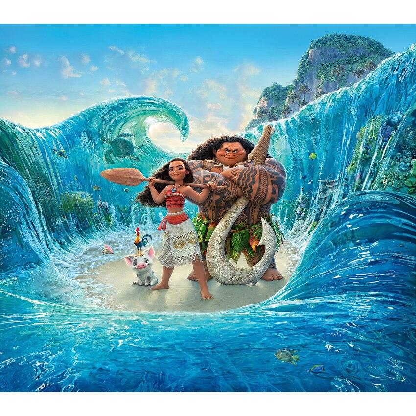 7x5ft Vinyl Cartoon Moana Maui Surfen Pacific Sea Wave Benutzerdefinierte Fotostudio Hintergrund Kinder Hintergrund S-2748