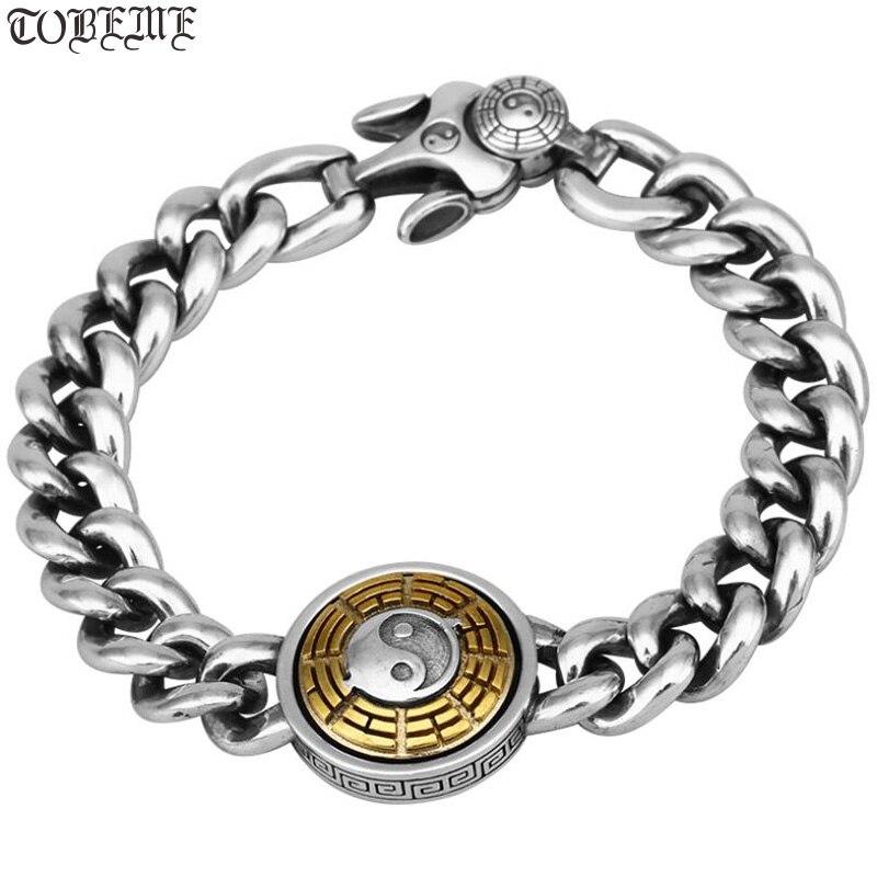 Nouveau Bracelet artisanal en argent massif 925 Taichi symbole Bracelet Sterling Fengshui Bagua symbole Bracelet bonne chance homme Bracelet cadeau