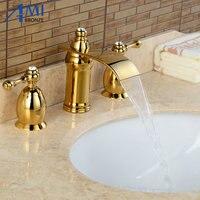 3 шт. водопад кран Золотой полированный Смесители для умывальника бортике Ванная комната Нажмите Раковина или ванной кран двойные ручки кра