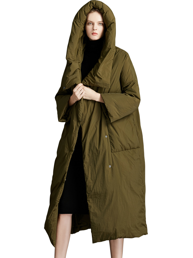 2019 New 90% White Duck Down Womens  Winter Jacket With Hooded Loose And Simple Style Warm Plus Size Parkas Large Overcoat